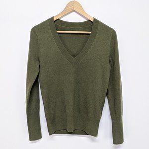 J. Crew Army Green V-Neck Sweater